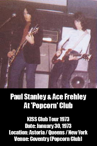 Paul Stanley, Ace Frehley @ Popcorn Club 1973 - Photo Source: www.necramonium.com