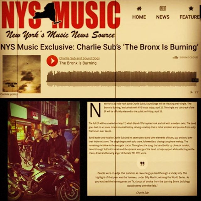 "New #single ""The Bronx is Burning"" out today!! Thanks @nystatemusic for the write-up. Available on #Bandcamp, #Spotify, and all major retailers. Off our upcoming EP out May 17th."